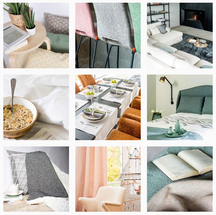 grid of images from the Love Home Fabrics' Instagram